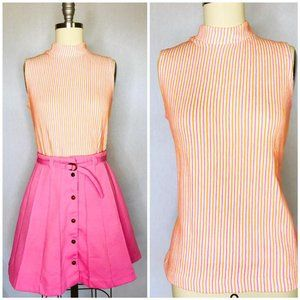 Vintage 70s White Stag Orange Pink Sleeveless Mock
